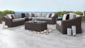 Canyon Outdoor Wicker Large Corner Lounge With Armchair