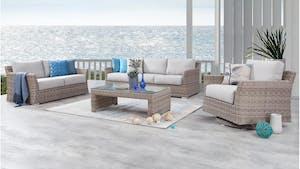 Savannah Outdoor Wicker Sofa Suite 3 + 2 + Rocker