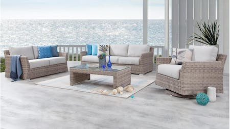 Savannah Outdoor Wicker Sofa Suite 3 + 2 + Rocker