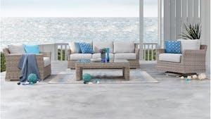 Savannah Outdoor Wicker Sofa Suite 3 + 1 + Rocker