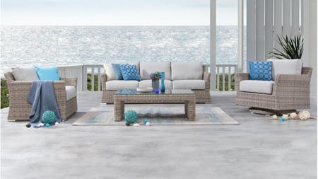 Savannah Outdoor Wicker Sofa Suite 3 + 1 + Rocker