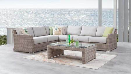Savannah Outdoor Wicker L Shape Lounge