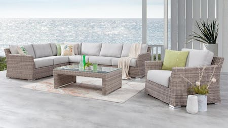 Savannah Outdoor Wicker L Shape Lounge With Armchair