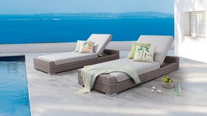 Savannah Outdoor Wicker Sun Lounge - Set of Two