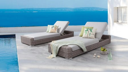 Savannah Outdoor Wicker Sun Lounge - Set of Two