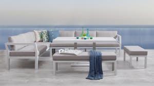 Bondi White Outdoor Aluminium Lounge & Dining Combo