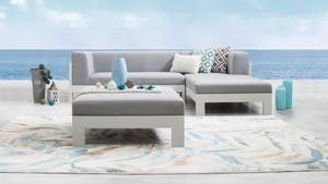 Lavi White Outdoor Fabric Chaise Lounge With Ottoman
