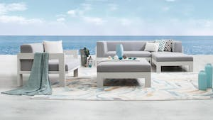 Lavi White Outdoor Fabric Chaise Lounge With Armchair & Ottoman