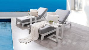 Noosa White Outdoor Fabric Sun Lounge Set With Side Tables