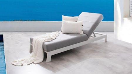 Noosa White Outdoor Fabric Sun Lounge
