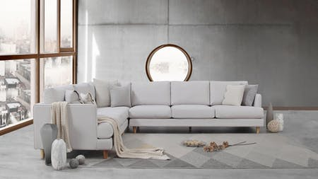 Stellar Fabric Corner Lounge Option D