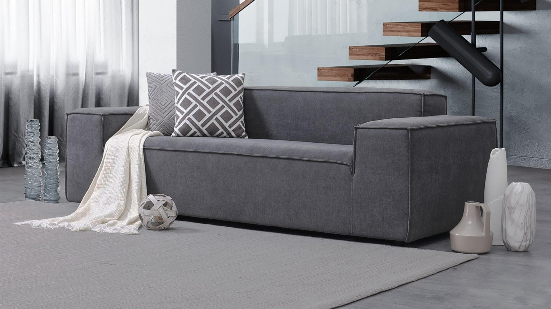 Orion Fabric Three Seat Sofa Lounge Life