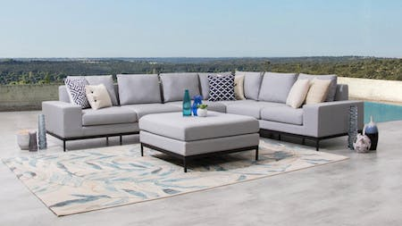 June Outdoor Fabric L Shaped Lounge With Ottoman