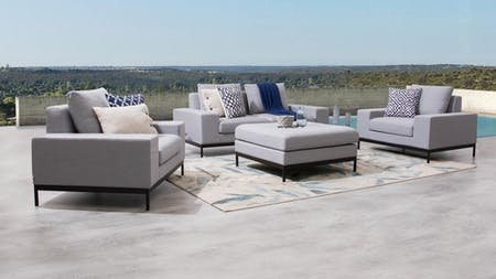 June Outdoor Fabric Sofa Suite 2 + 1 + 1 With Ottoman