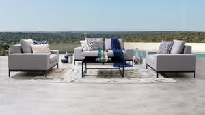 June Outdoor Fabric Sofa Suite 2 + 1 + 1 With Coffee Table
