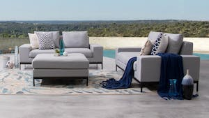 June Outdoor Fabric Sofa Suite 2 + 2 With Ottoman