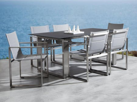 Element 7-Piece Outdoor Stainless Steel Dining Set