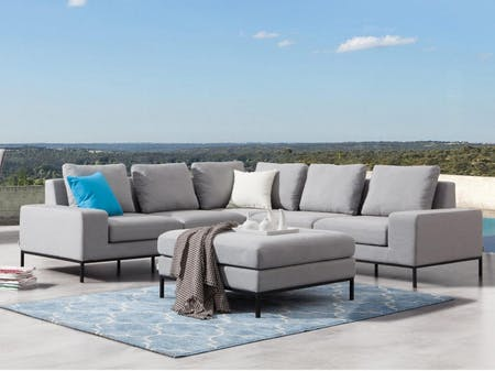 June Outdoor Fabric Corner Lounge With Ottoman