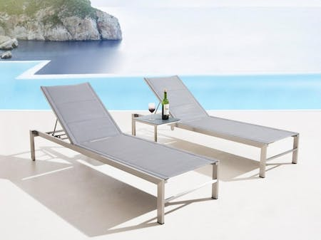 Element Outdoor Stainless Steel Sun Lounge Set With Side Table