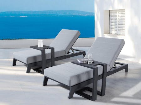 Noosa Black Outdoor Fabric Sun Lounge Set With Side Tables
