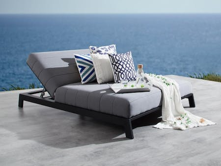 Noosa Black Outdoor Fabric Double Sun Lounge