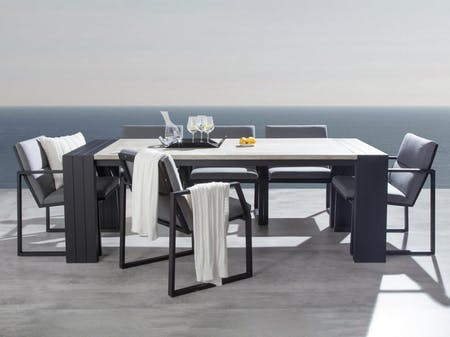 Hadid 7-Piece Outdoor Ceramic Dining Set With Invini Chairs