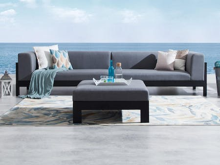 Lavi Black Outdoor Fabric Lounge With Ottoman