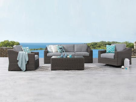 Canyon Outdoor Wicker Sofa Suite 3 + 1 + Rocker