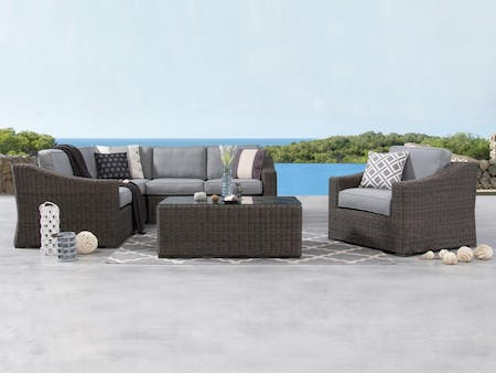 Canyon Outdoor Wicker Corner Lounge With Armchair