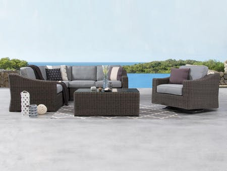 Canyon Outdoor Wicker Corner Lounge With Rocker Chair