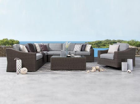 Canyon Outdoor Wicker Large Corner Lounge With Rocker Chair