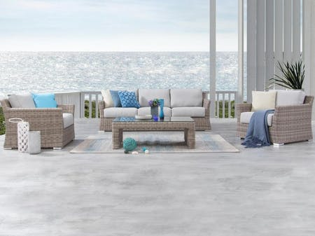 Savannah Outdoor Wicker Sofa Suite 3 + 1 + 1