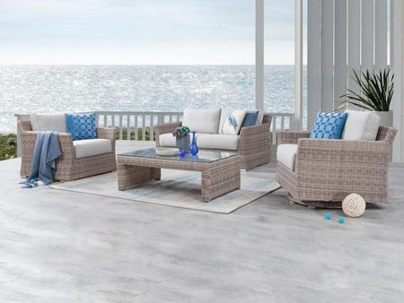Savannah Outdoor Wicker Sofa Suite 2 + 1 + Rocker