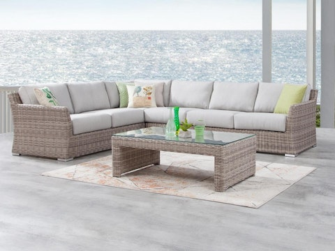 Savannah Outdoor Wicker L Shaped Lounge