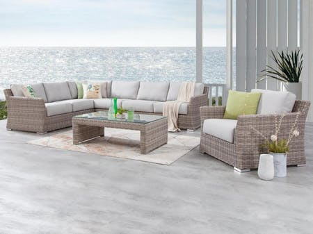 Savannah Outdoor Wicker L Shaped Lounge With Armchair