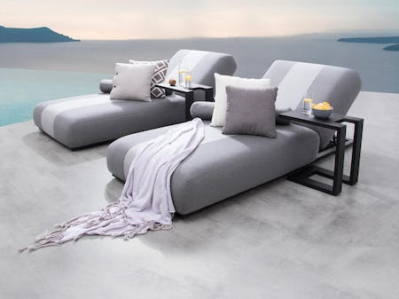 Joy Outdoor Fabric Sun Lounge Set With Side Tables