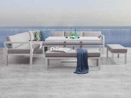 Bondi White Outdoor Aluminium Lounge & Dining Combo
