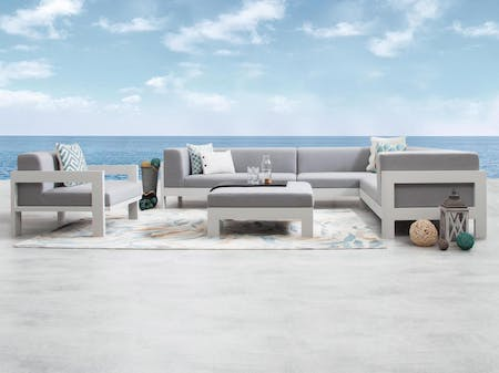 Lavi White Outdoor Corner Lounge With Armchair & Ottoman
