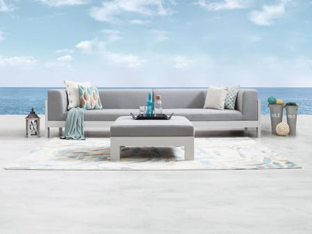 Lavi White Outdoor Fabric Lounge With Ottoman