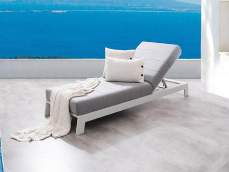 Noosa White Outdoor Fabric Sun Lounge